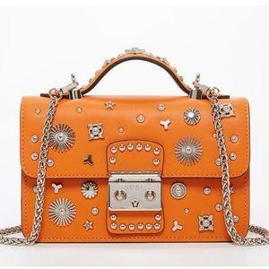 Orange leather crossbody